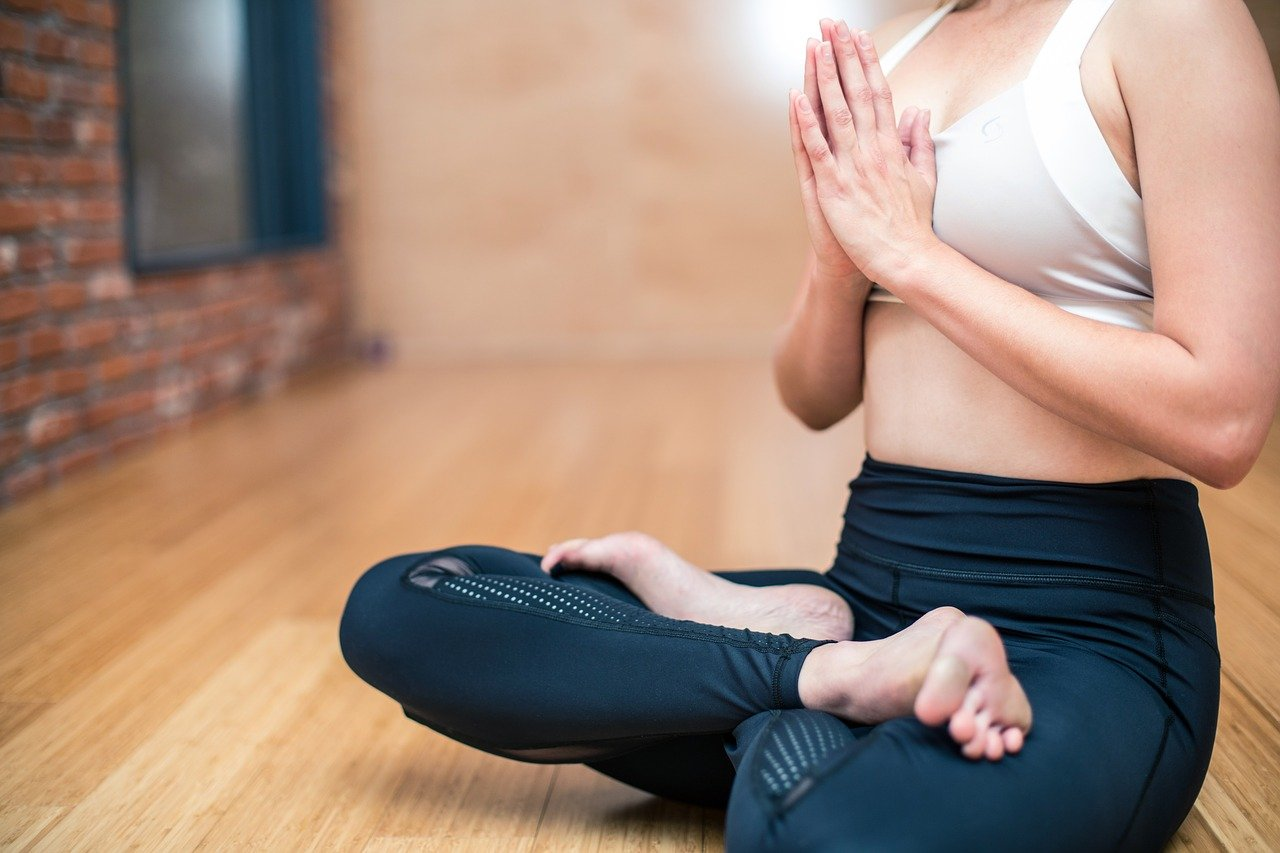 Person With Healthy Skin Doing Yoga, Destressing