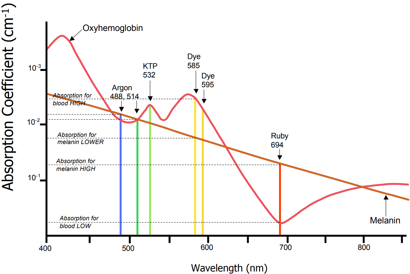 Vascular Absorption Spectrum Chart